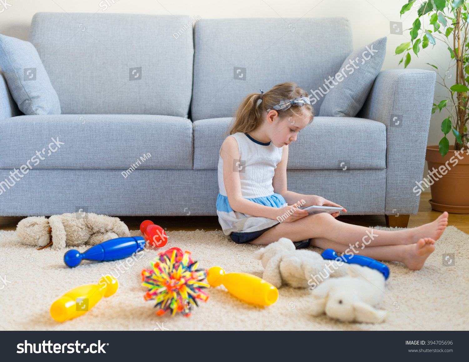 Time Clean Your Toys Little Girl Stock Photo Edit Now 394705696