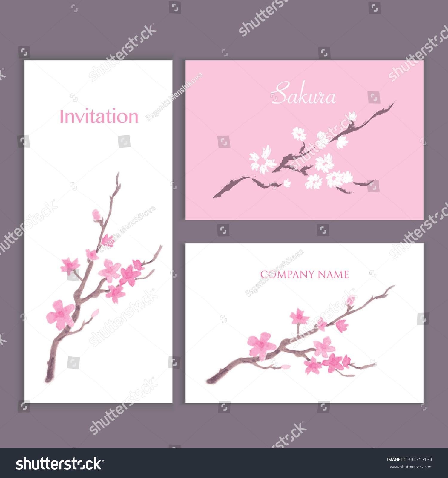 Invitation Business Cards Blossom Sakura Your Stock Vector 394715134 ...