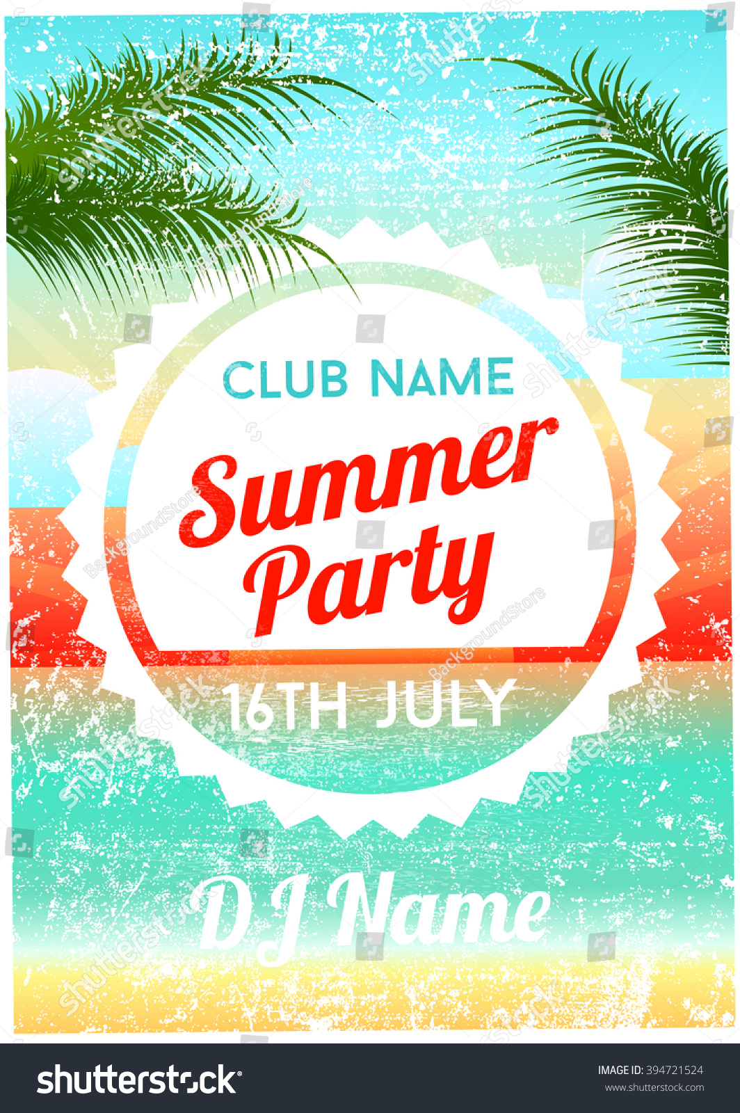 summer party poster flyer template stock vector 394721524