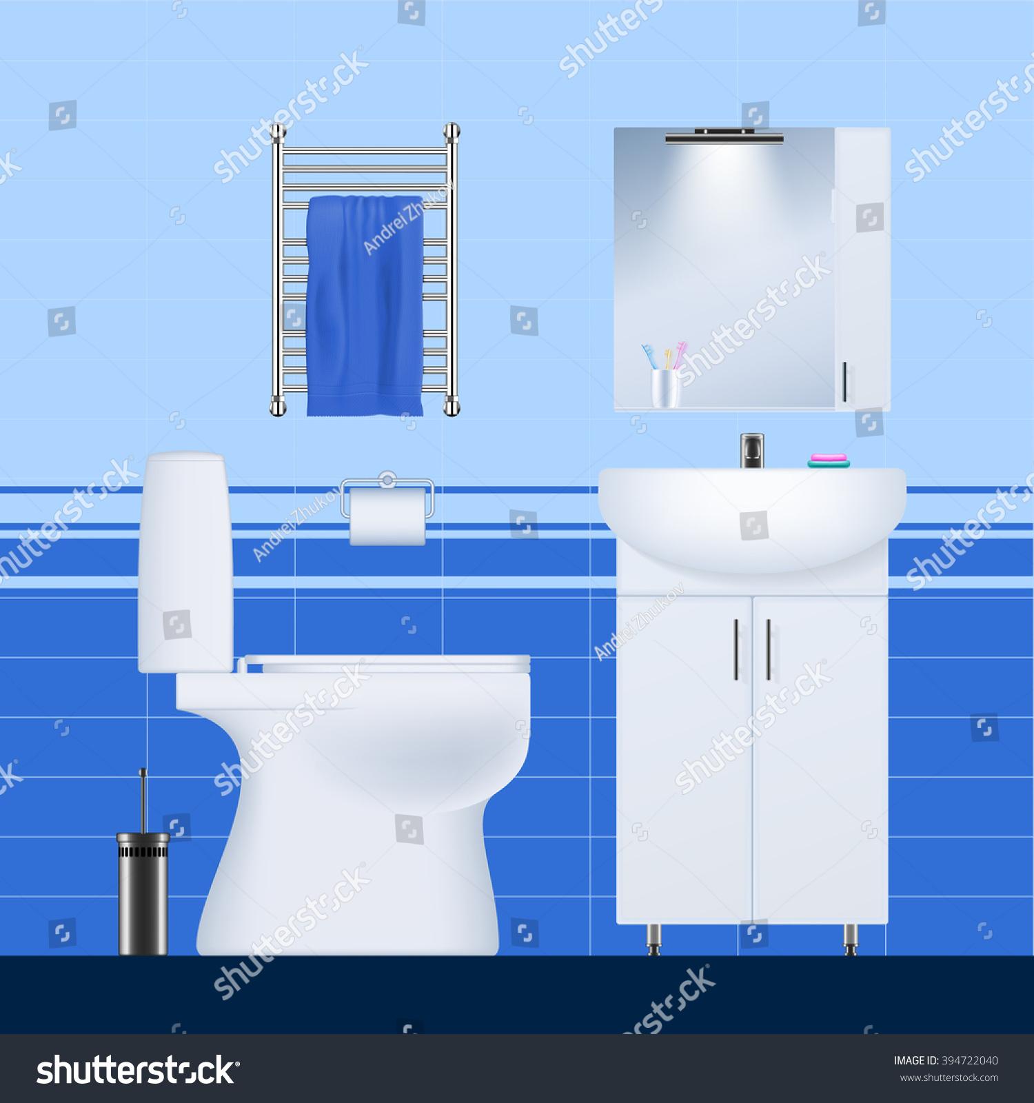 Subjects Bath Toilet Sink Cupboard Heated Stock Photo (Photo, Vector ...