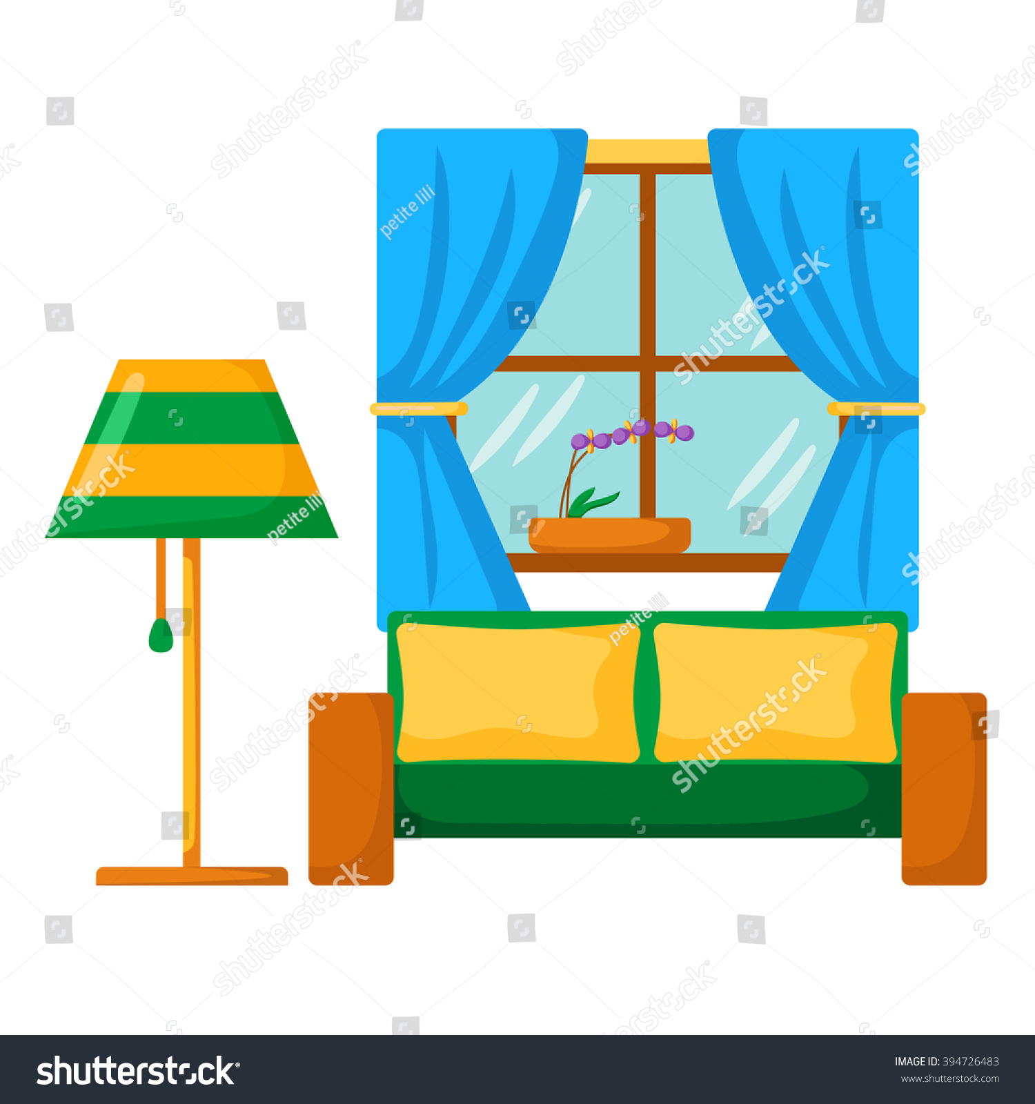 Cartoon kitchen with cabinets and window vector art illustration -  Vectors Illustrations Footage Music Vector Sofa Interior Cartoon Living Room Interior With Sofa Lamp Window Vector