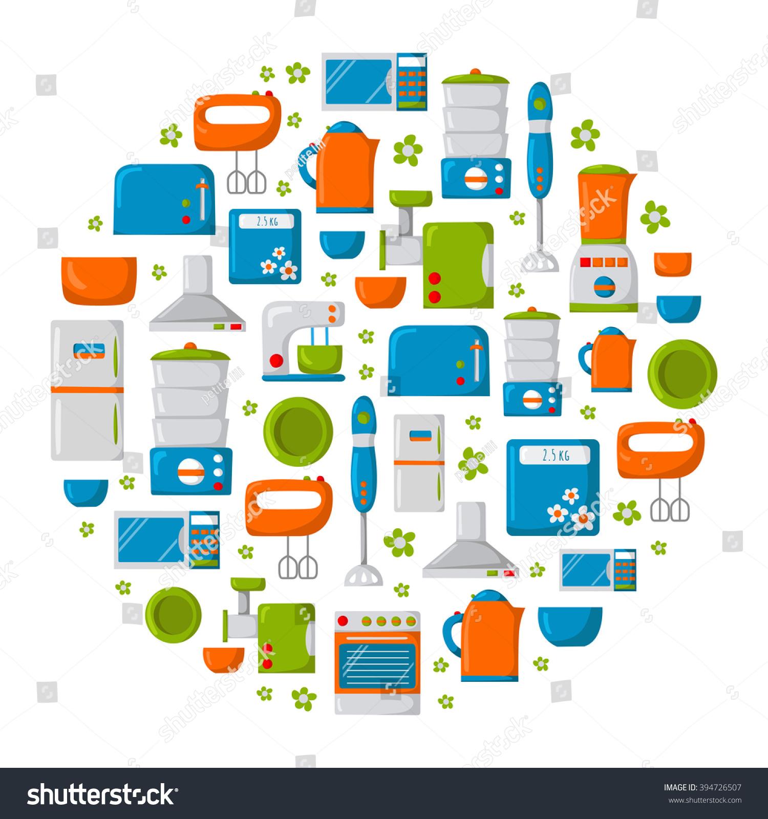Domestic Kitchen Appliances Round Background Cartoon Kitchen Appliances Kitchen Stock Vector