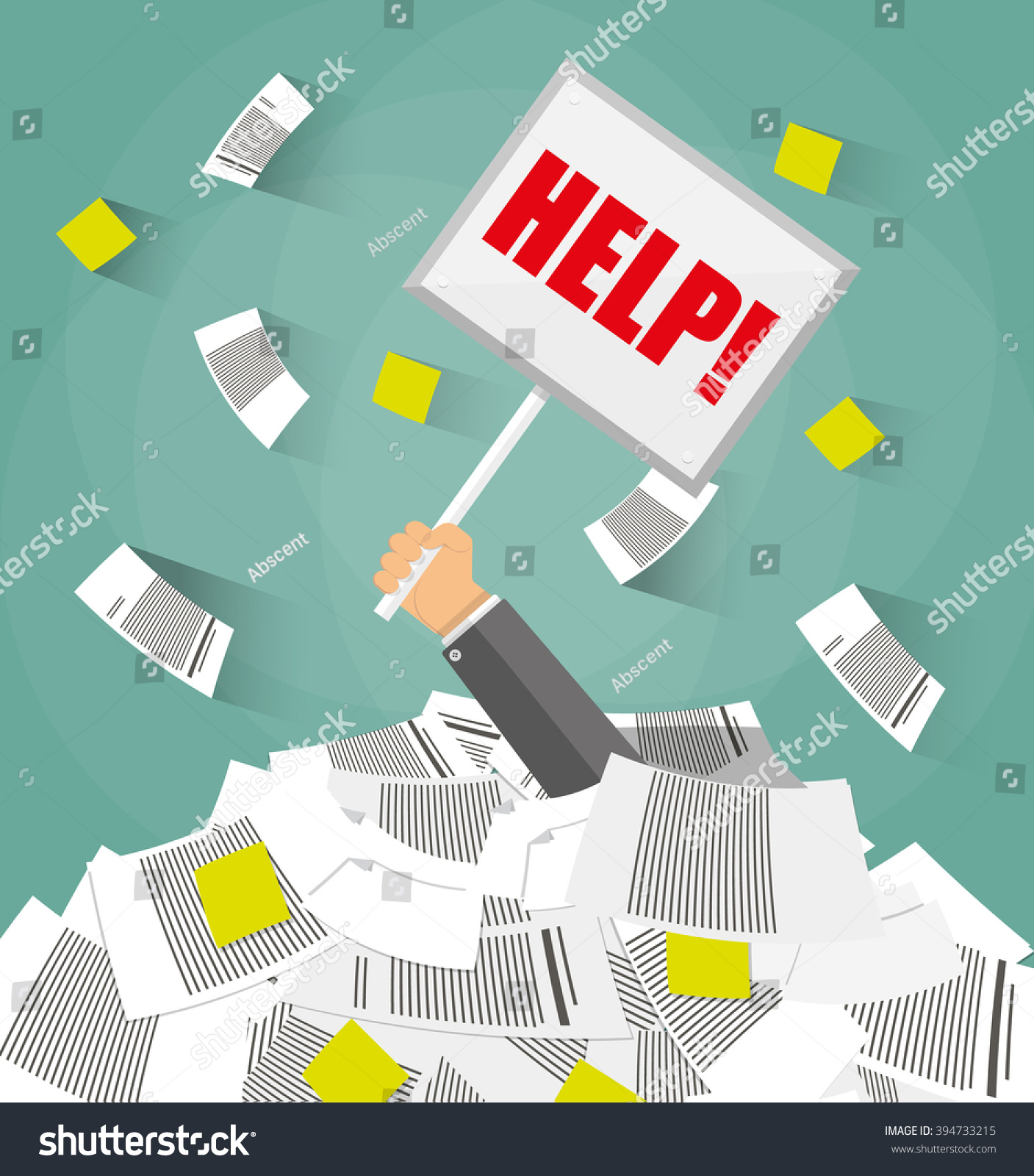 stressed cartoon businessman pile office papers stock vector stressed cartoon businessman in pile of office papers and documents help sign stress at