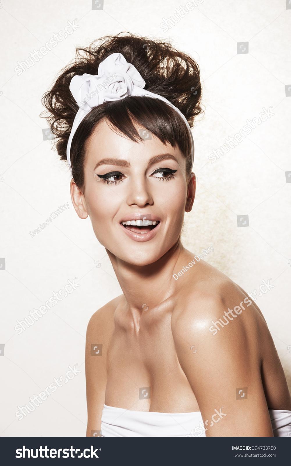 Beautiful Brunette Woman Retro Hairdo Makeup Stock Photo Edit Now
