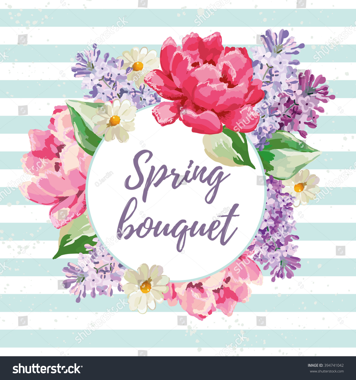 Spring Garden Flowers On Striped Background Stock Vector 394741042