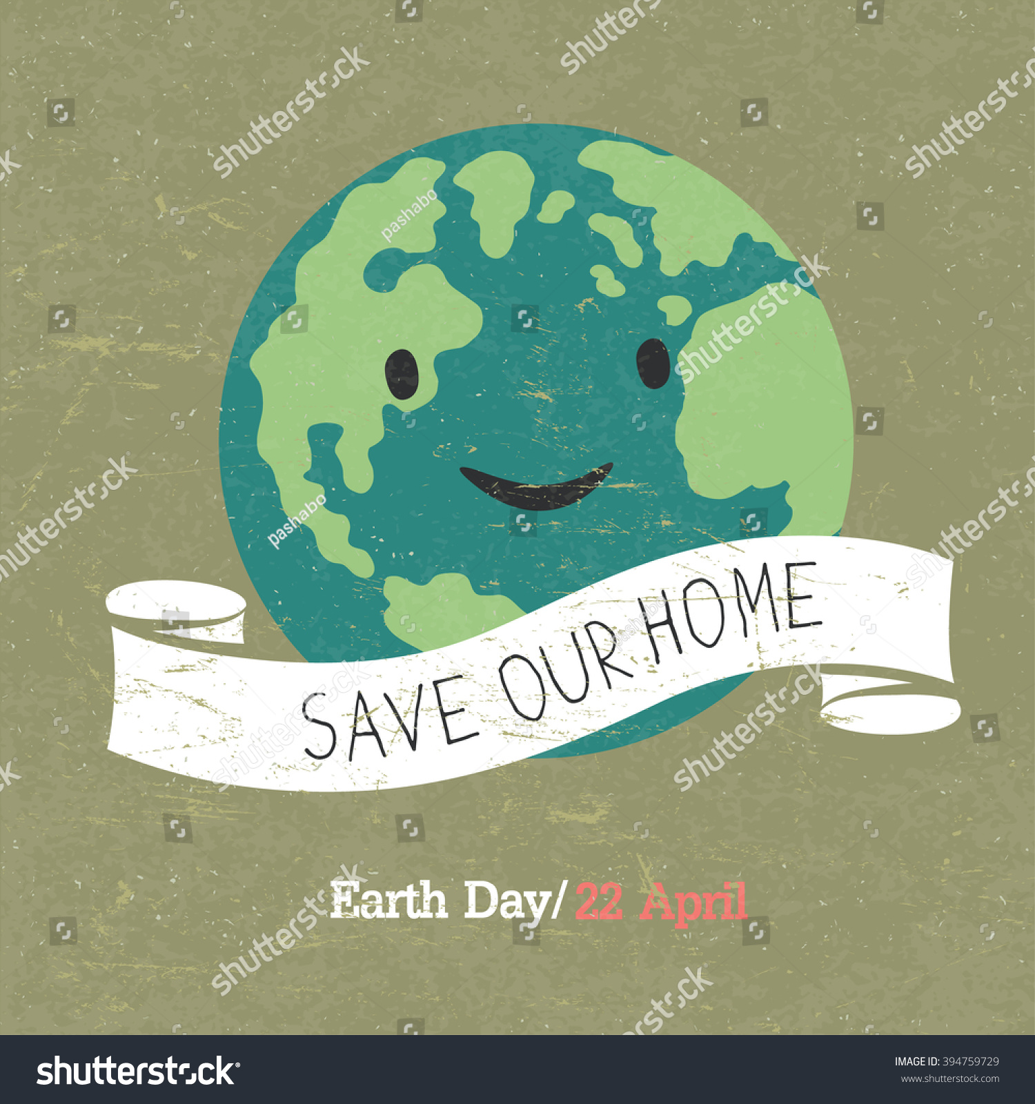 Poster design on save earth - Vintage Earth Day Poster Cartoon Earth Illustration Text On White Ribbon On Grunge