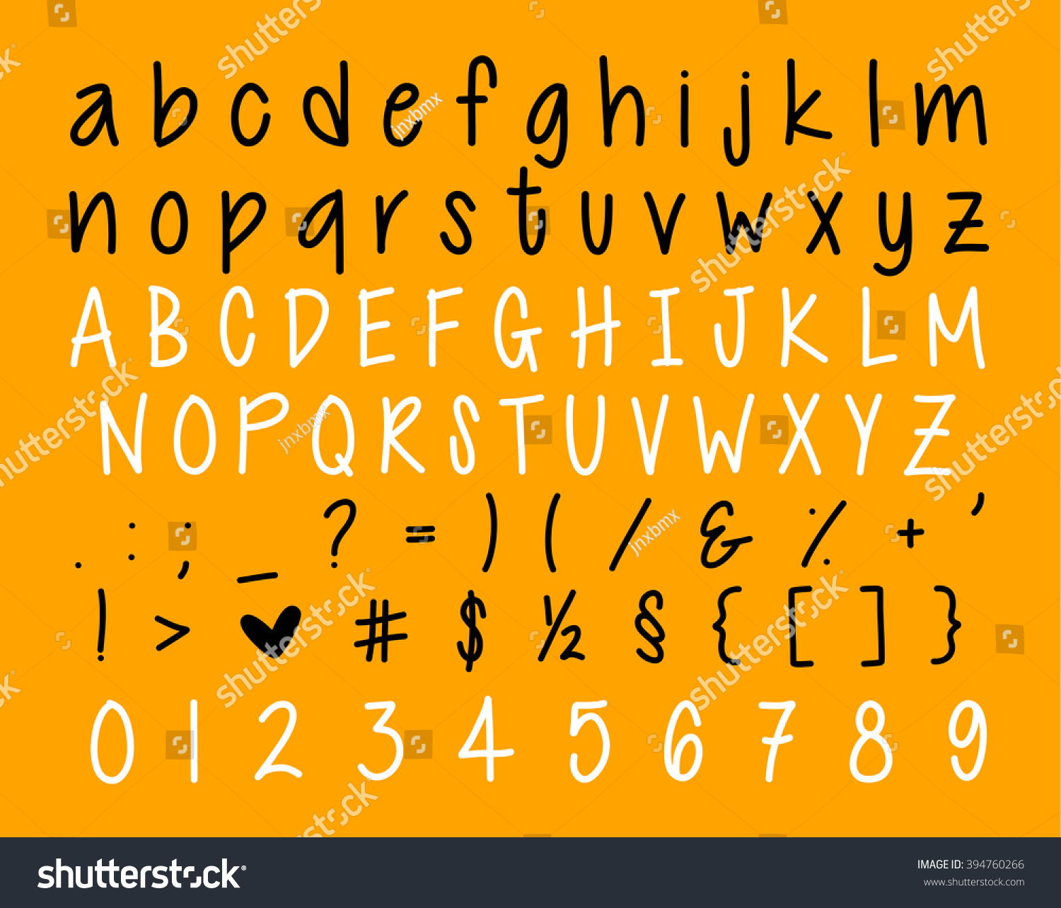 Vector Alphabet Handwritten Calligraphy Letters Numbers