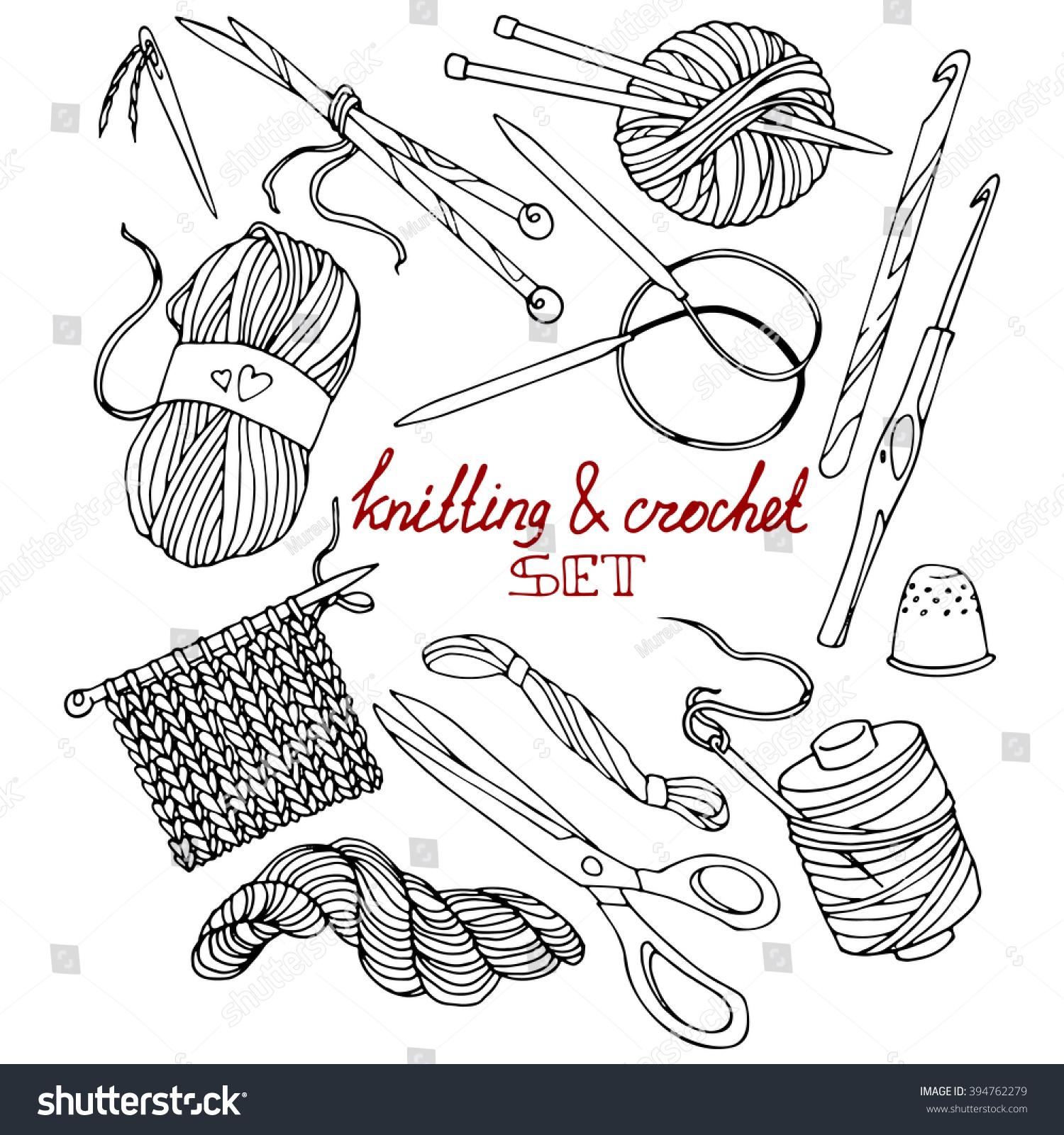 Hands Knitting Drawing : Knitting crochet set contour drawings handdrawn stock