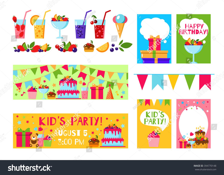 Happy Birthday Invitation Card Flat Vector Stock Vector