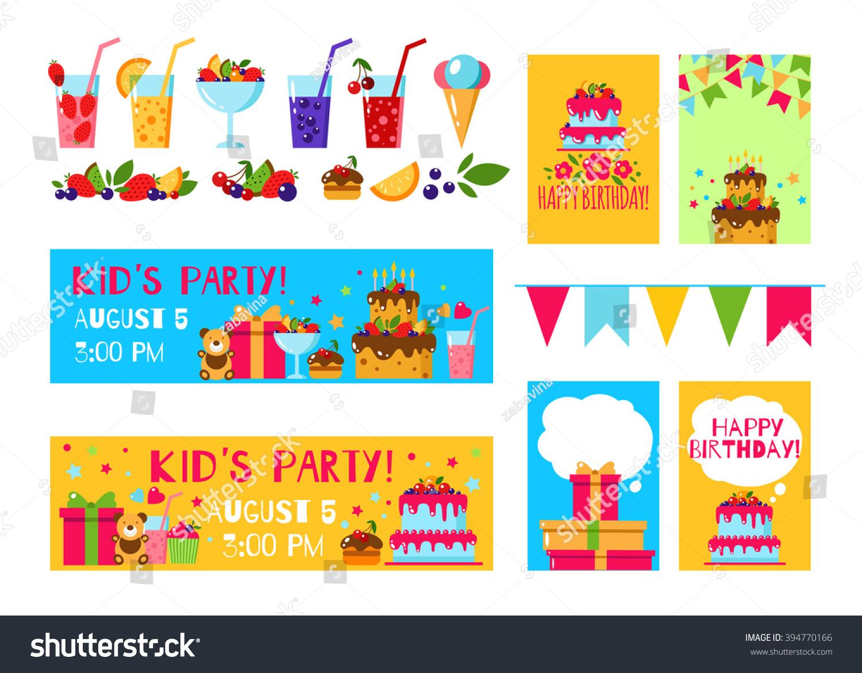 Happy Birthday Invitation Card Flat Vector Stock Vector 394770166