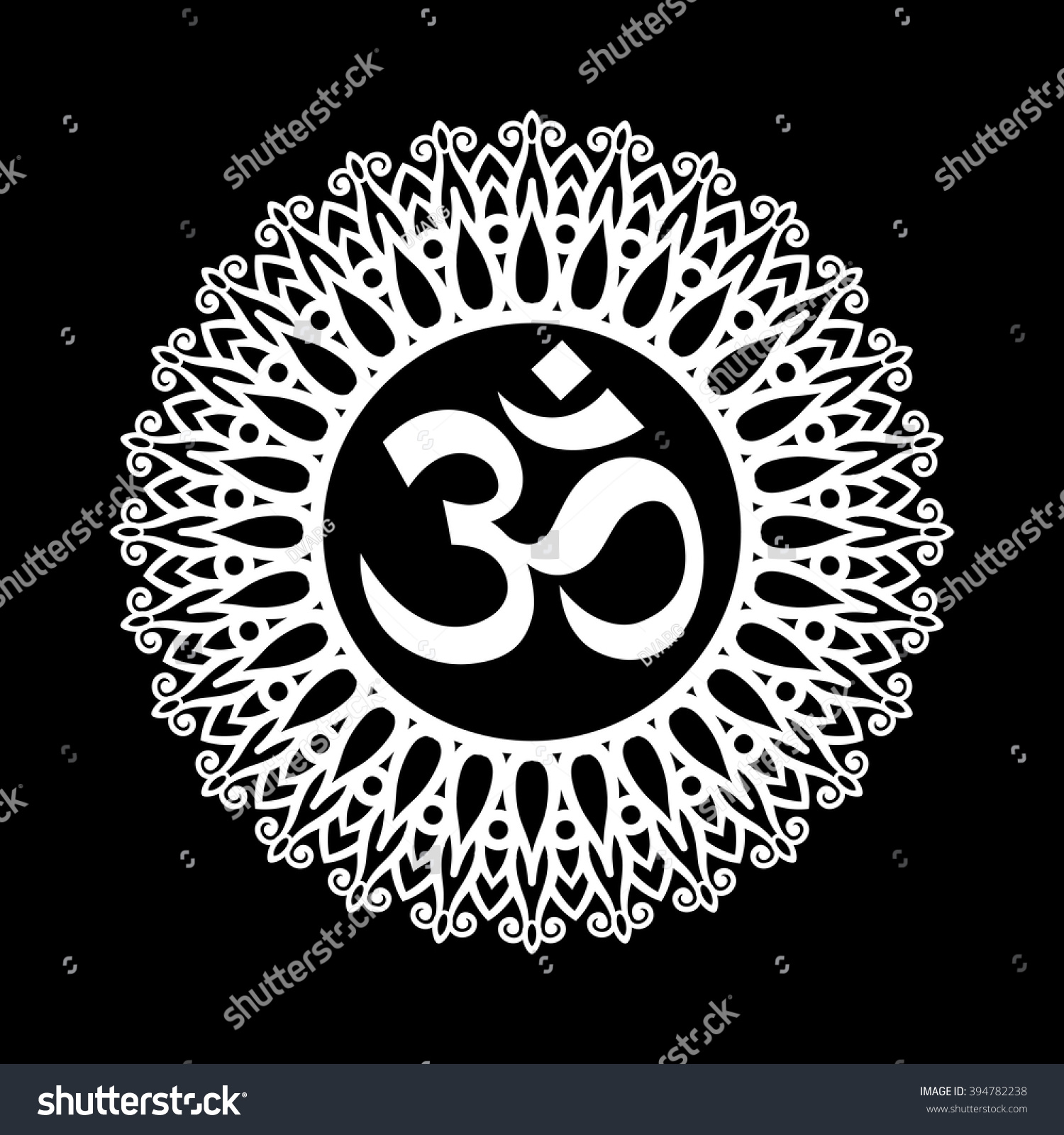 Om Symbol Aum Sign Decorative Indian Stock Vector 2018 394782238