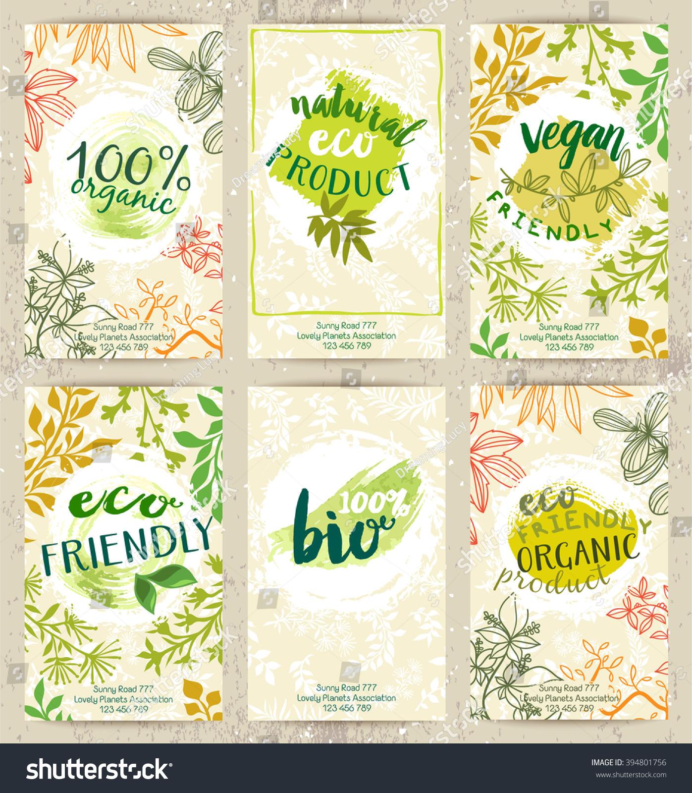 Vector Set Eco Friendly Food Labels Stock Vector 394801756