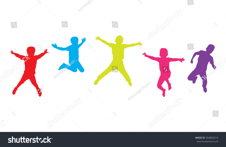 kids jumping children jumping five boys stock illustration 394802314