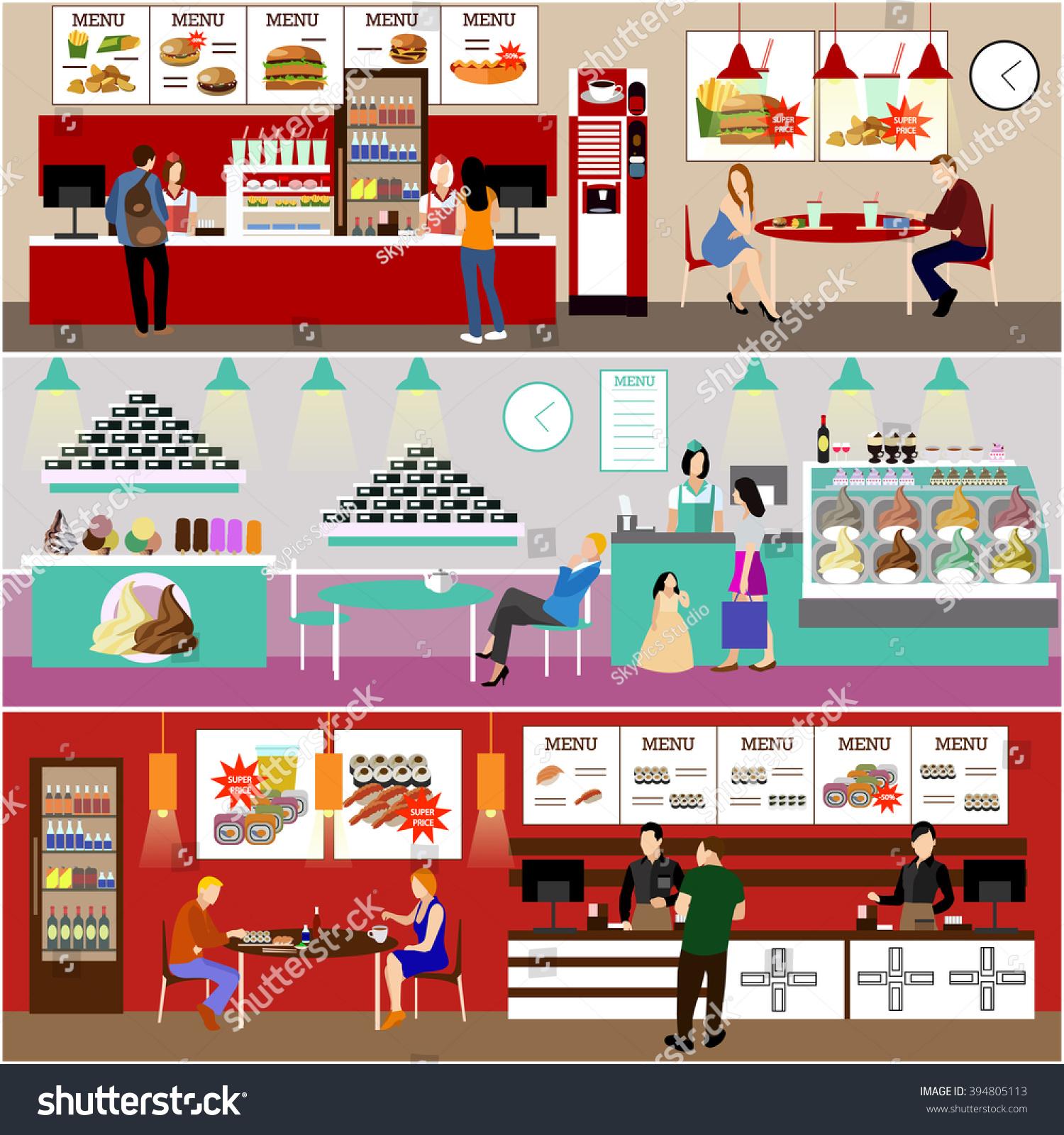 Fast food restaurant interior vector illustration stock