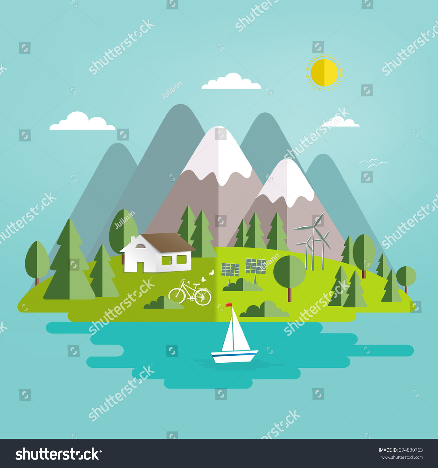 Environmental Concept Earthfriendly Landscapes: Summer Landscape Isolated Nature Landscape Mountains Stock