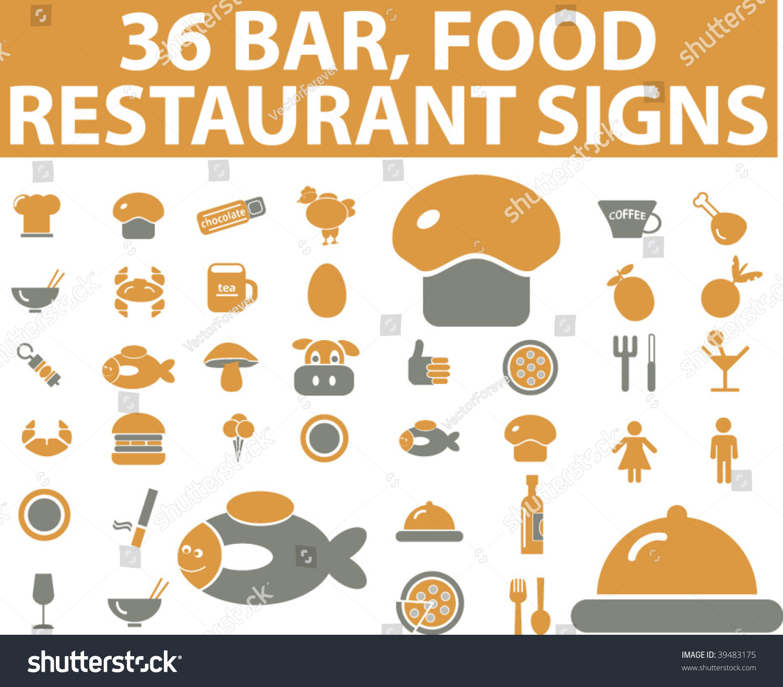 36 bar food restaurant signs vector 39483175 for Food bar 36 cafe