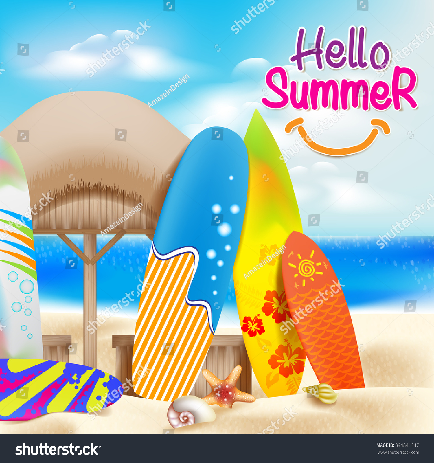Nice Hello Summer Colorful Theme In The Beach Beside The Seashore With  Decorative Surfboards And Bright Sky