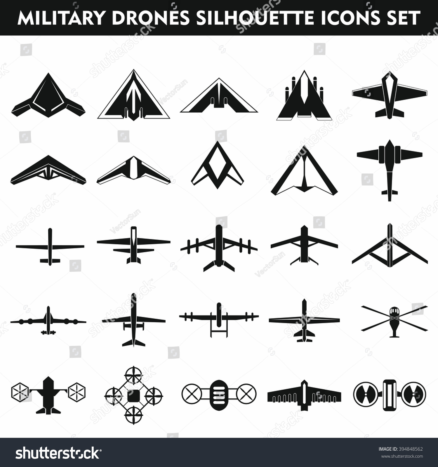 Set Modern Military Air Drones Quadrocopters Stock Vector 394848562