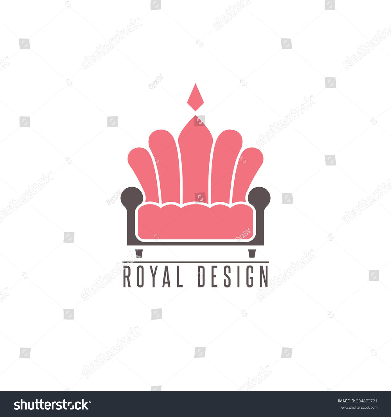 Furniture Logo Sofa, Interior Design Creative Mockup Emblem Shape Crown,  Comfort Divan Icon