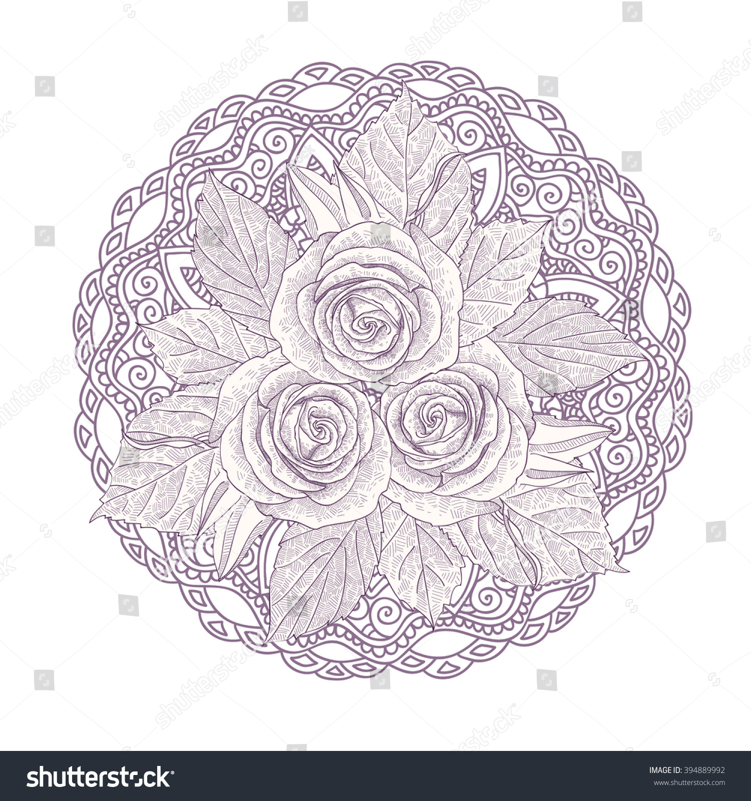 Mandala Bouquet Three Roses Isolated On Stock Vector 394889992 ...