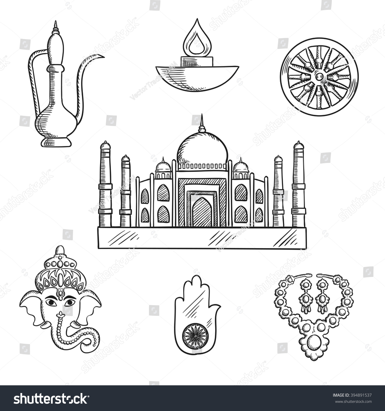 Indian Religion Culture Symbols Ganesha God Stock Vector Royalty