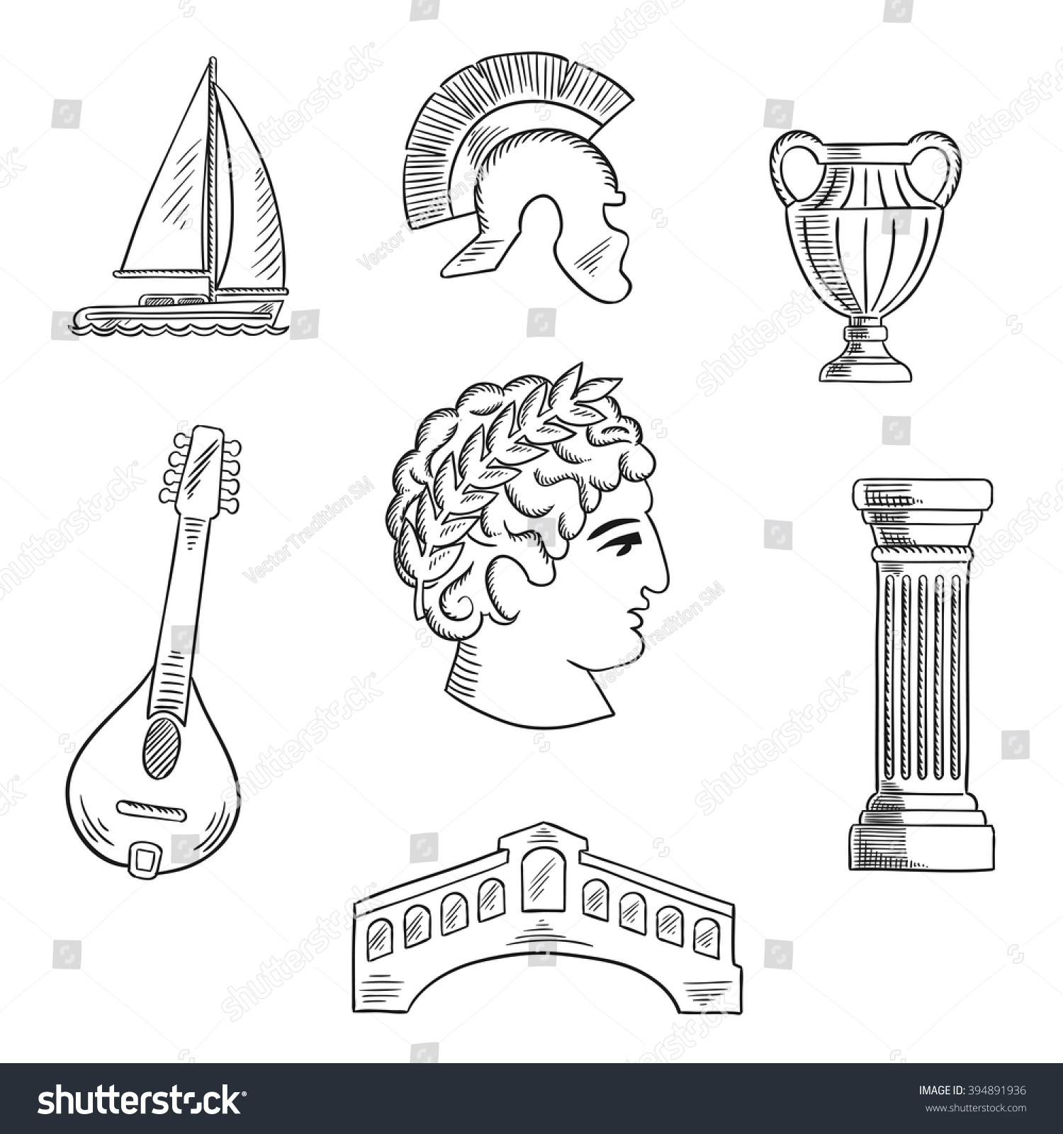 italian culture history travel sketched icons stock vector