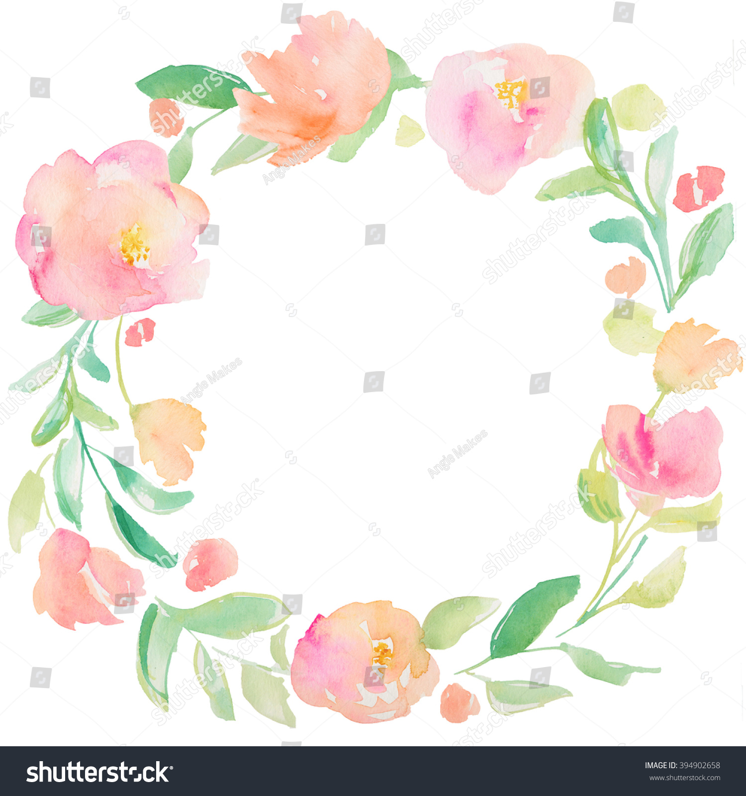 Watercolor Frame With Purple Flower Petal Vectorized  : stock photo round watercolor wreath flower wreath circular watercolor flower wreath painted flower wreath 394902658 from vacances-mediterranee.info size 1500 x 1600 jpeg 531kB