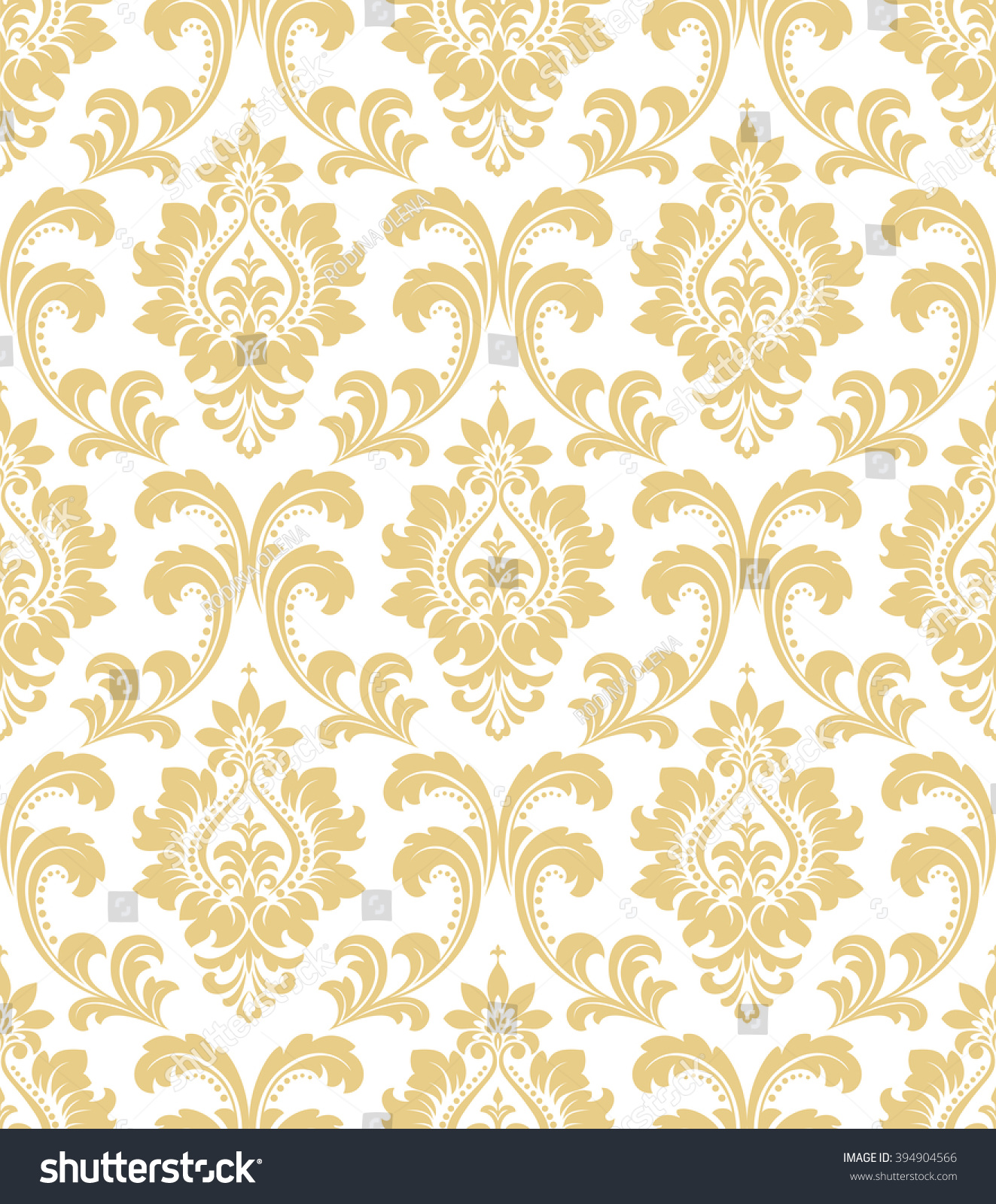 Floral Pattern Wallpaper Baroque Damask Seamless Background White And Gold Ornament
