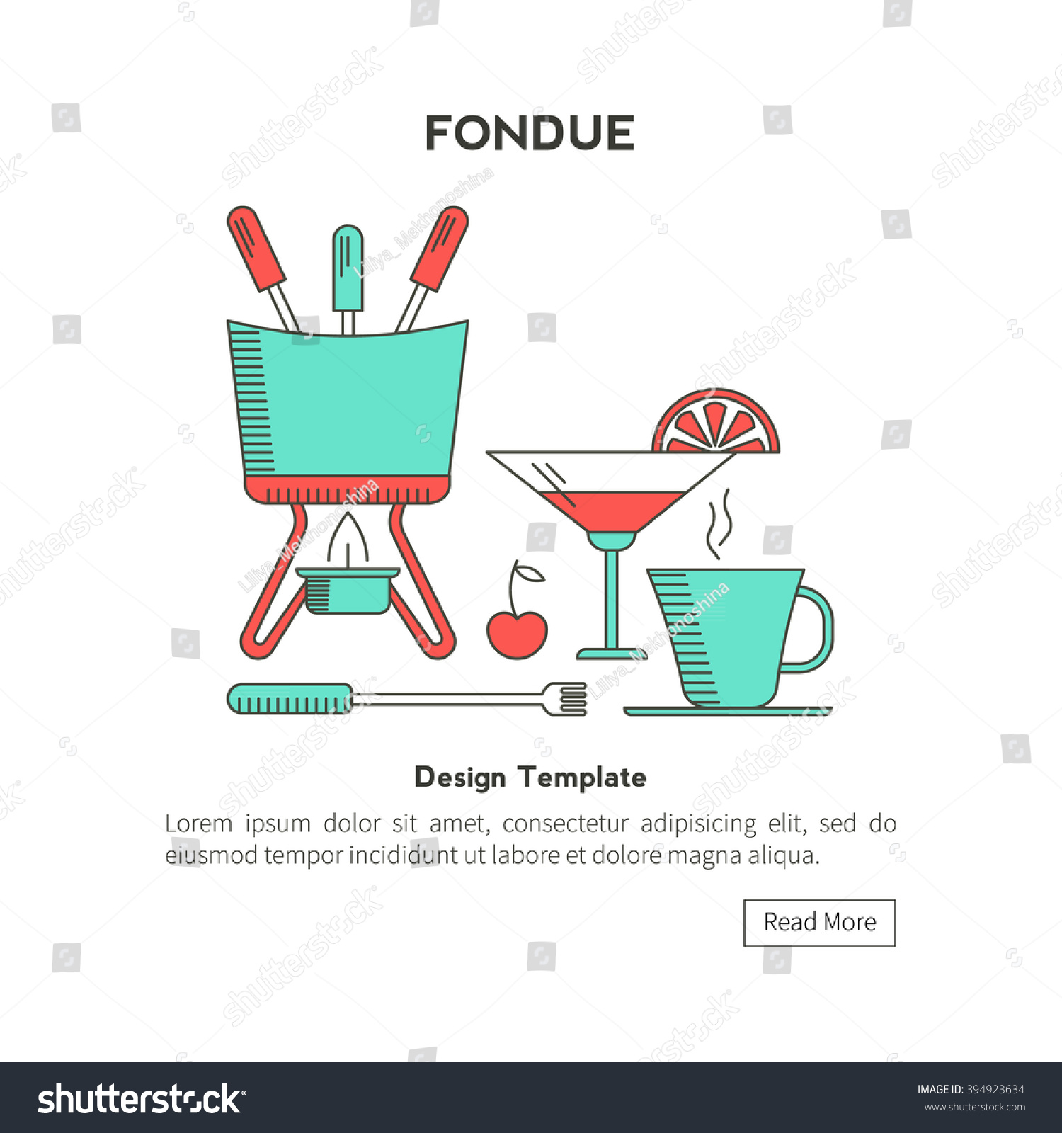 Fondue Party Icons Trendy Linear Style Stock Vector 394923634 ...