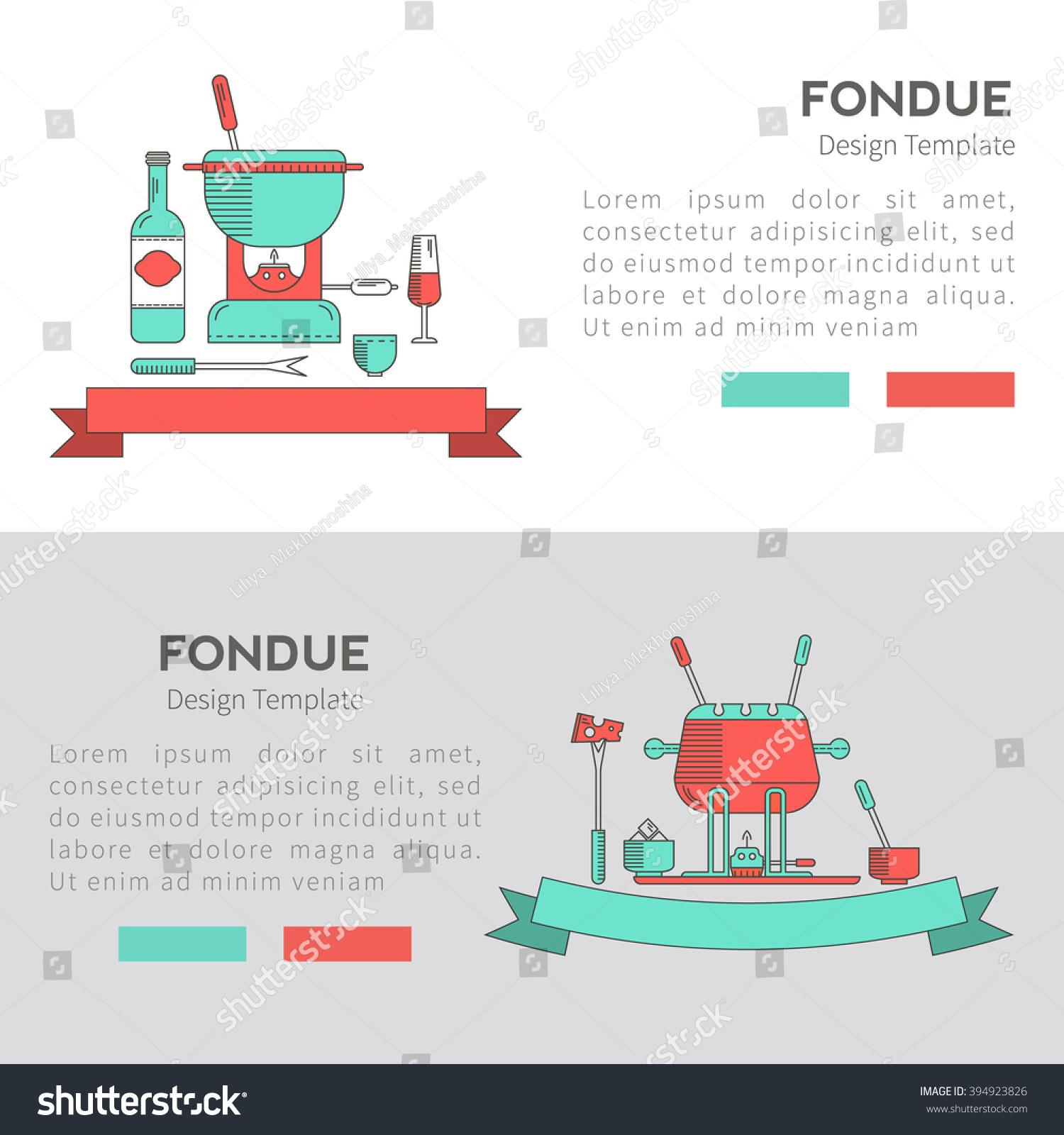 Fondue Party Fondue Vector Set Banners Stock Vector 394923826 ...