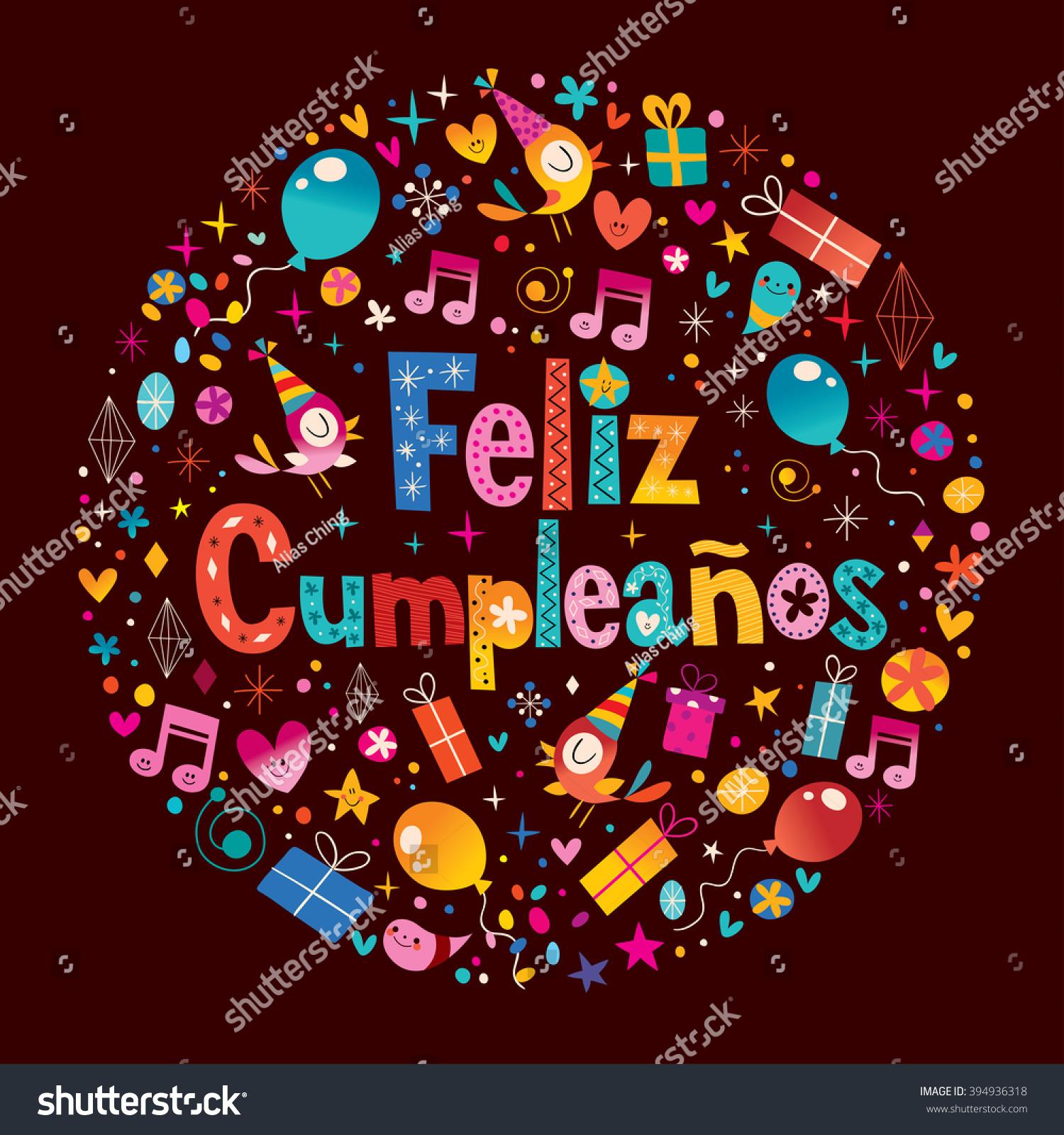 Feliz Cumpleanos Happy Birthday Spanish Greeting Stock Vector