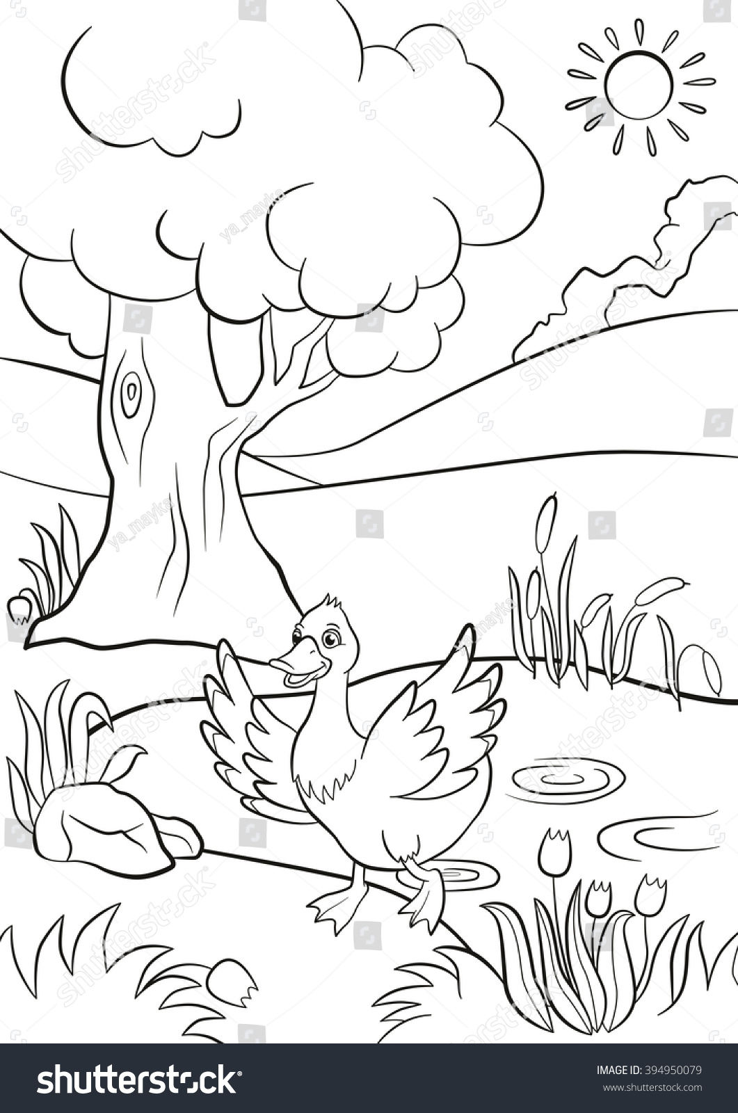 Coloring pages trees and flowers - Coloring Pages Cute Duck Runs From The Pond There Are Tree Flowers And