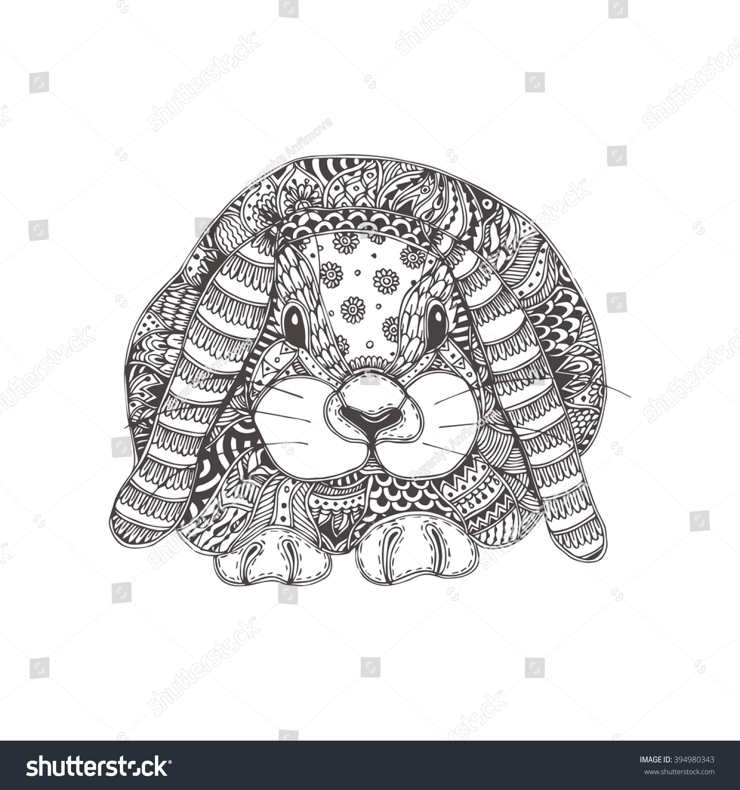 Rabbit Ethnic Floral Doodle Pattern Coloring Stock Vector (Royalty ...