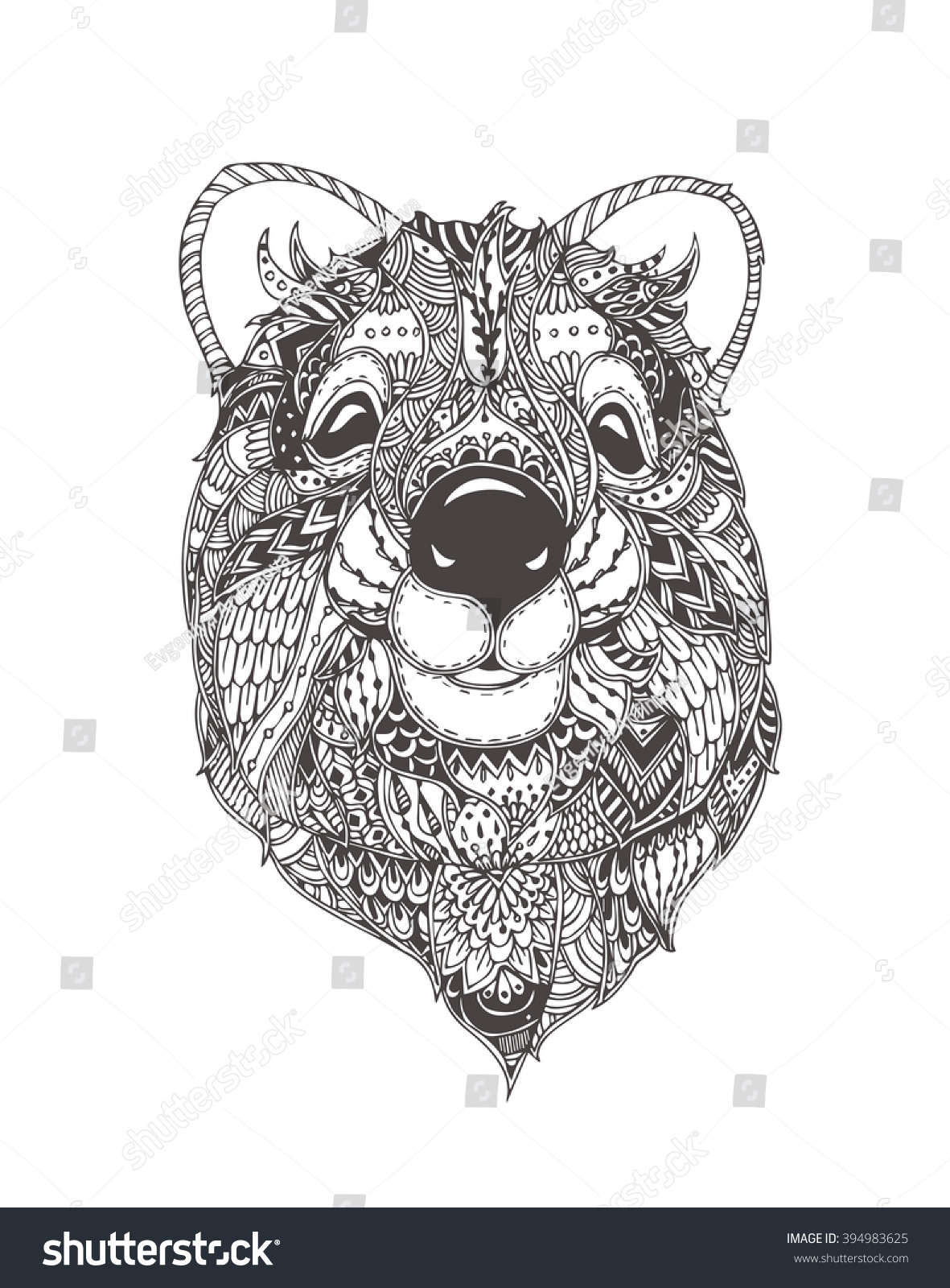 Quokka Ethnic Floral Doodle Pattern Coloring Stock Vector