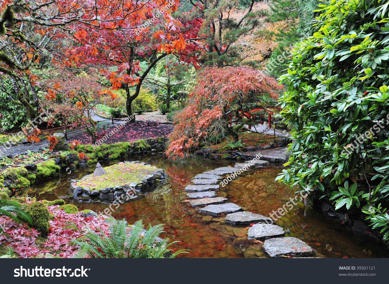 garden landscaping japanese garden historic butchart stock photo