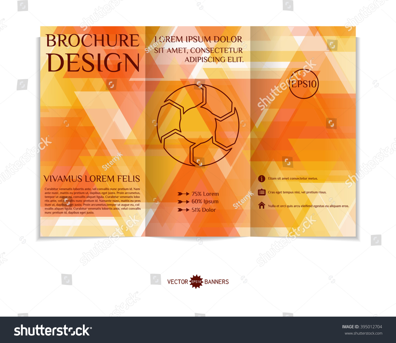 Colorful trifold brochure design template modern stock for Colorful brochure templates