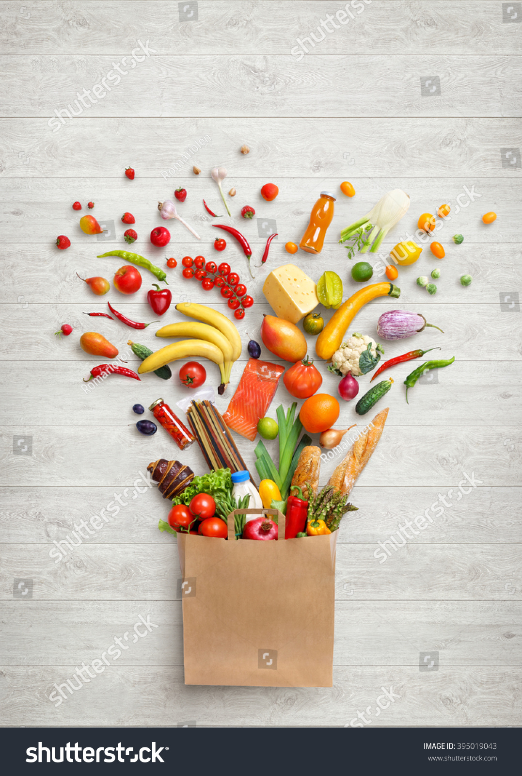 Food background studio photo of different fruits and vegetables - Healthy Food In Package Studio Photography Of Different Fruits And Vegetables On White Wooden Background