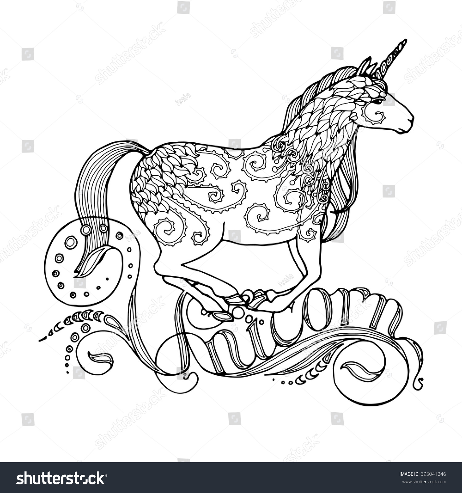 Running Unicorn Writing Fairy Page Adult Stock Vector ...