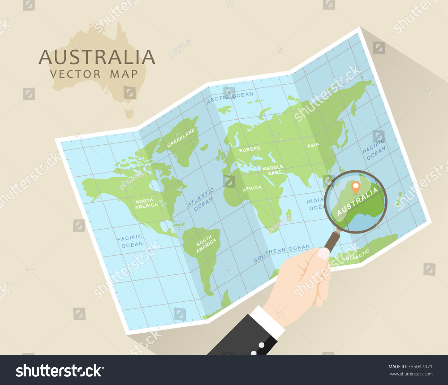 australia vector map world map with magnifying glass australia in focus folded map
