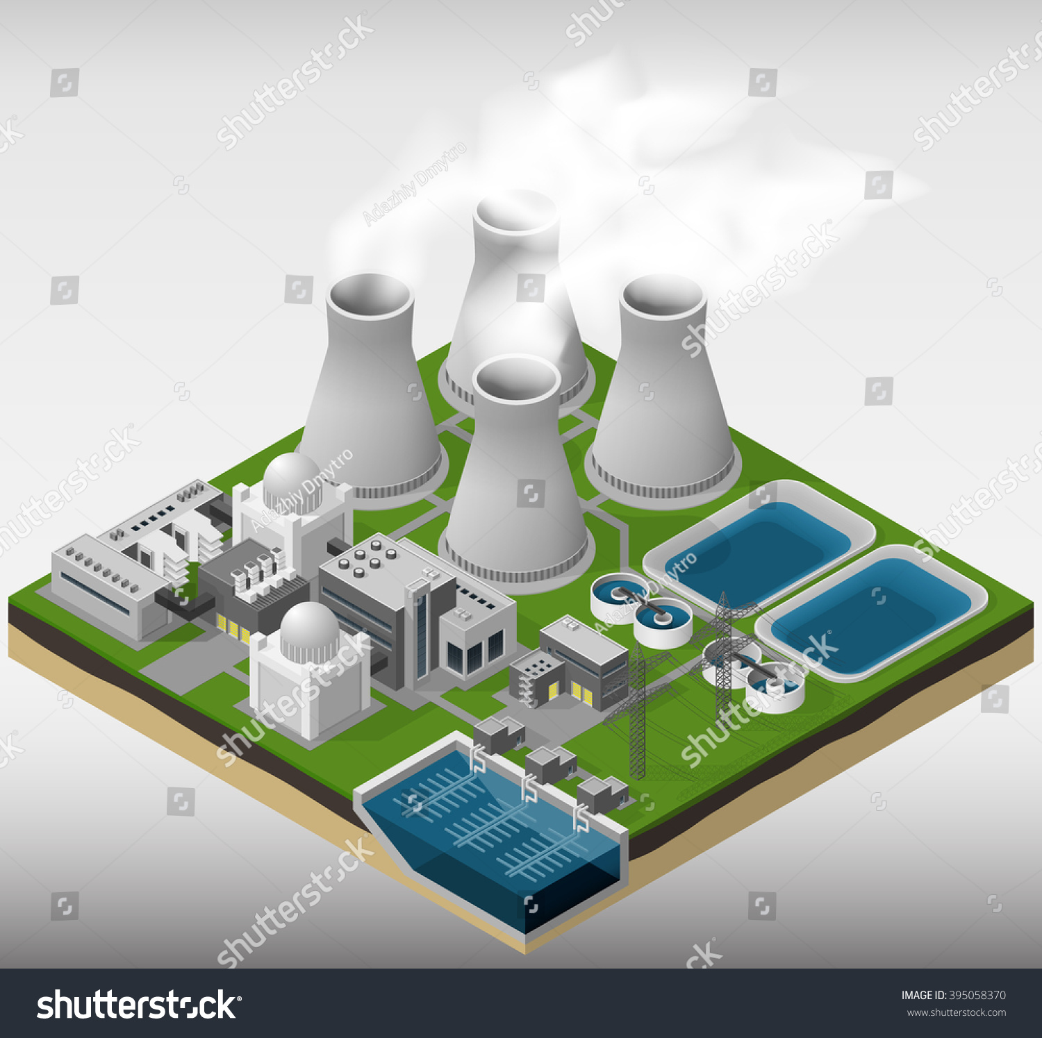 Vector Isometric Illustration Nuclear Power Plant Stock