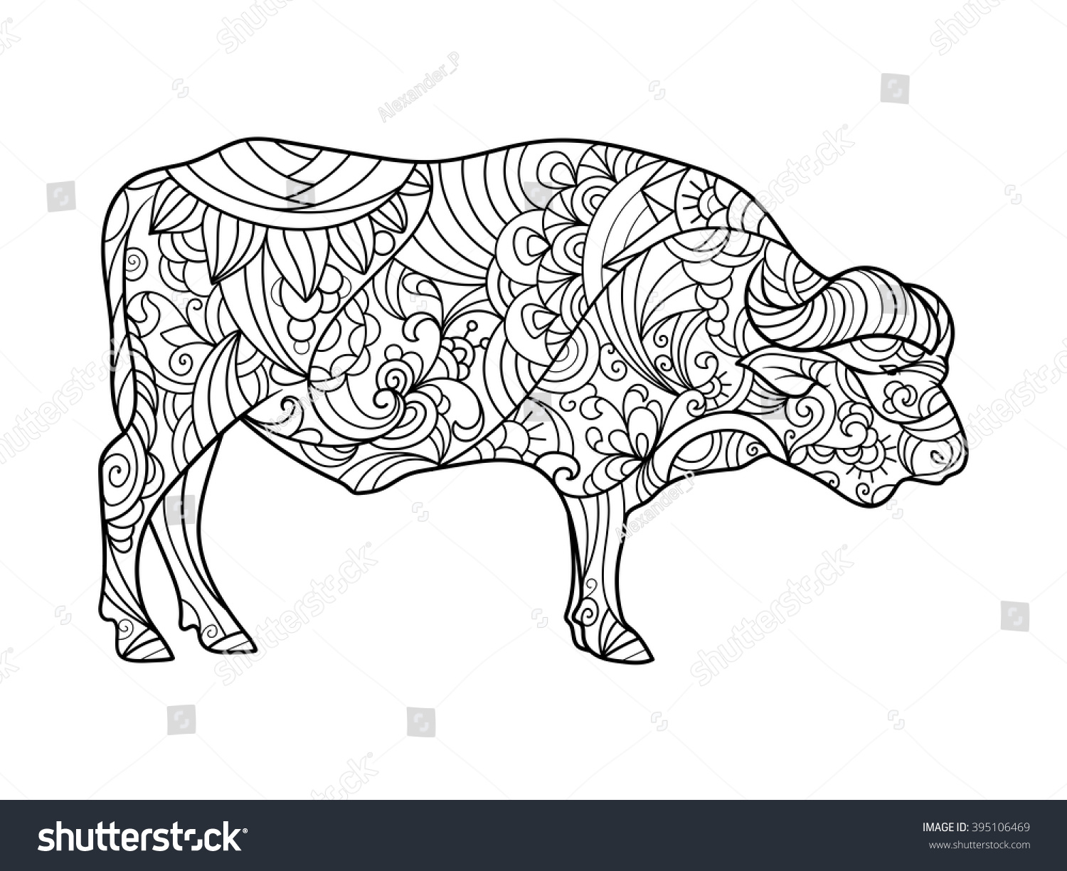 Buffalo Animal Coloring Book For Adults Vector Illustration Anti Stress Adult