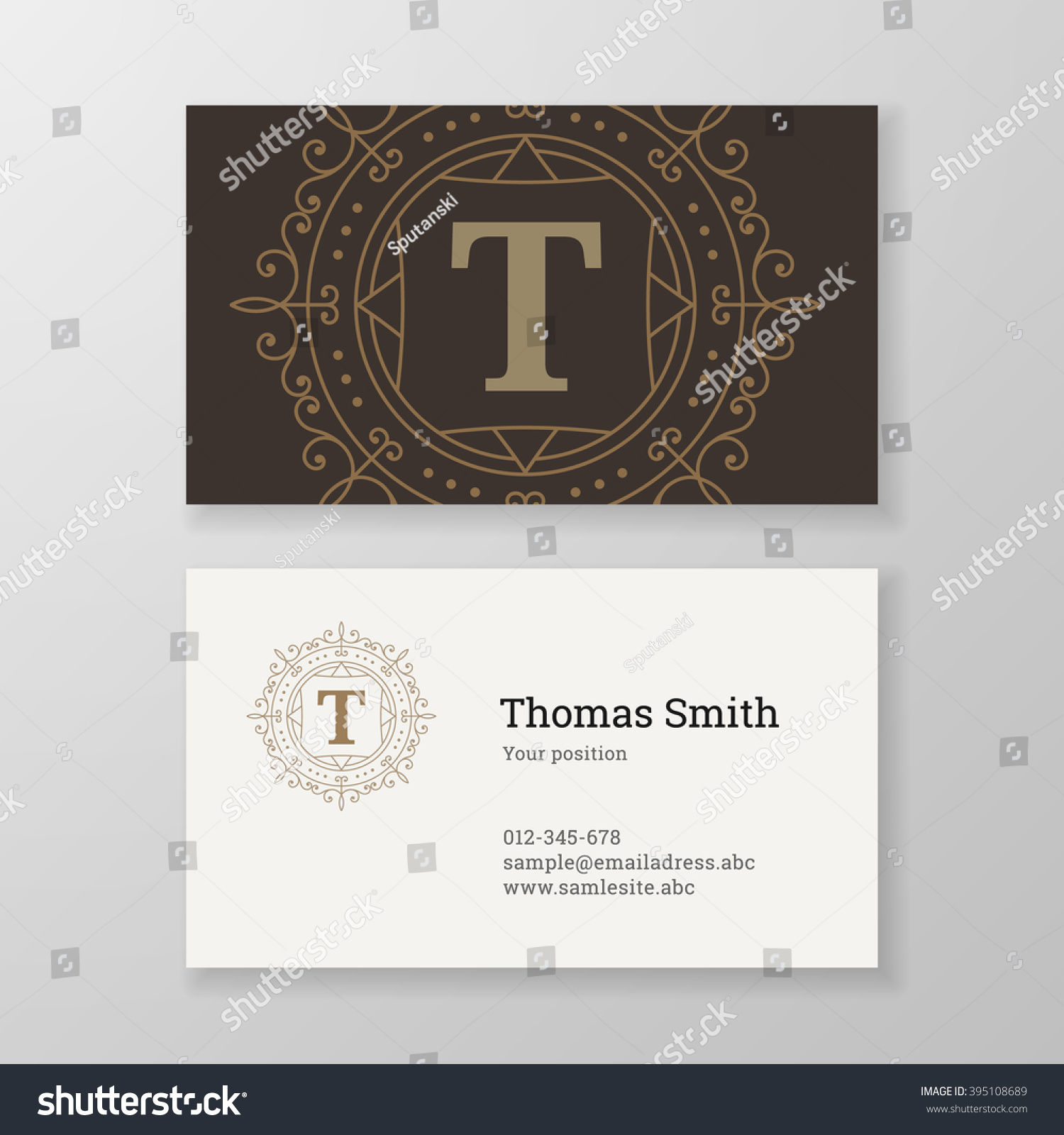 Business Card Monogram Emblem Letter T Stock Vector 395108689 ...