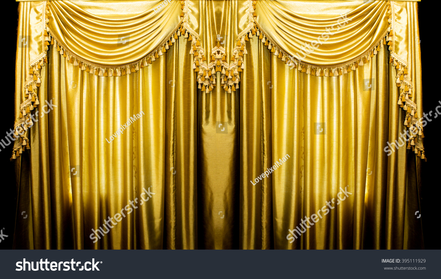 Gold Curtains On Stage For Background