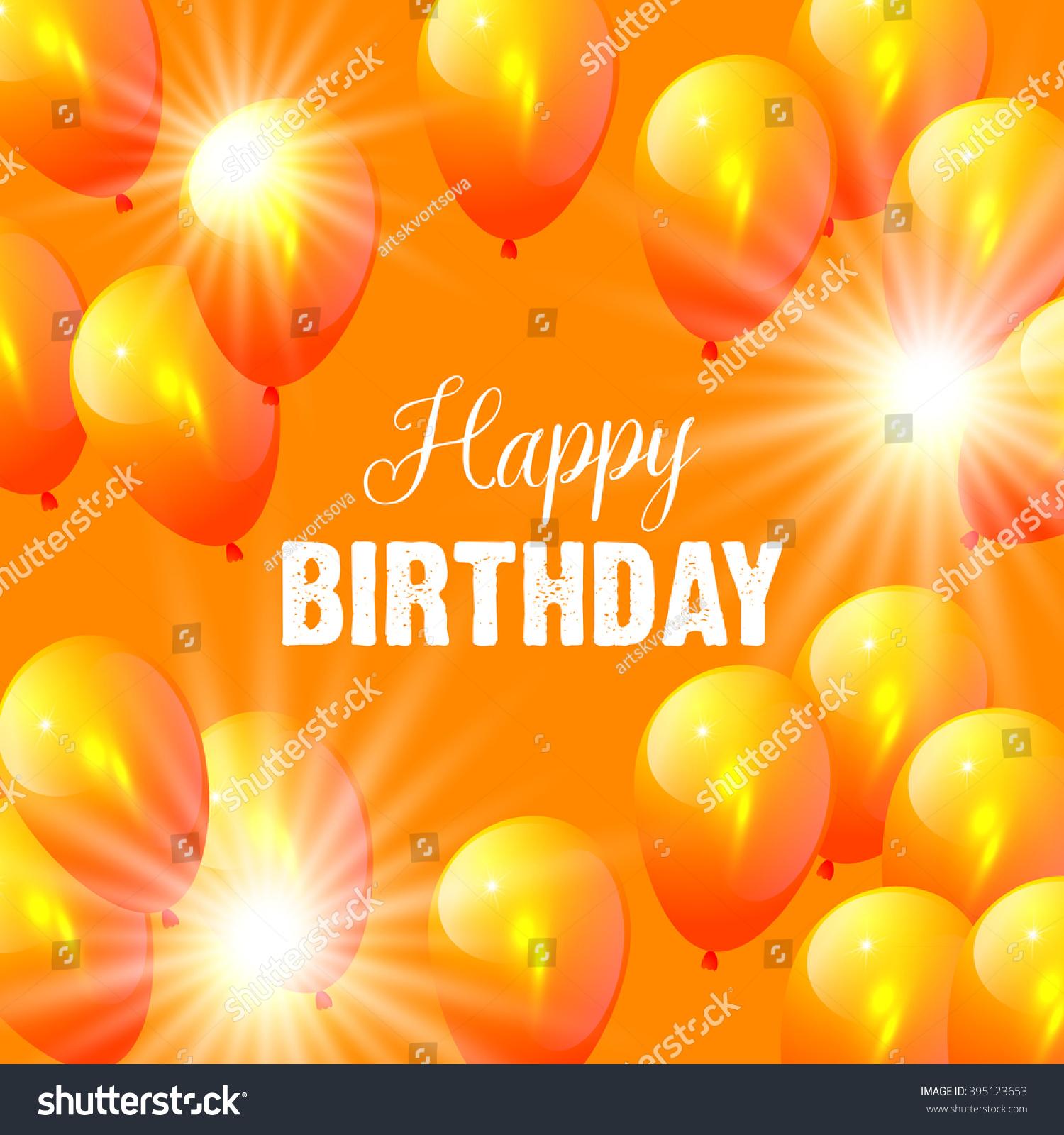 Vector Birthday Card Balloons Orange Background Stock ...