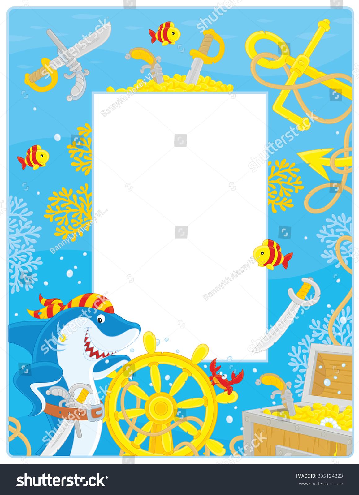 Vector Frame Border Pirate Shark Steering Stock Vector 395124823 ...