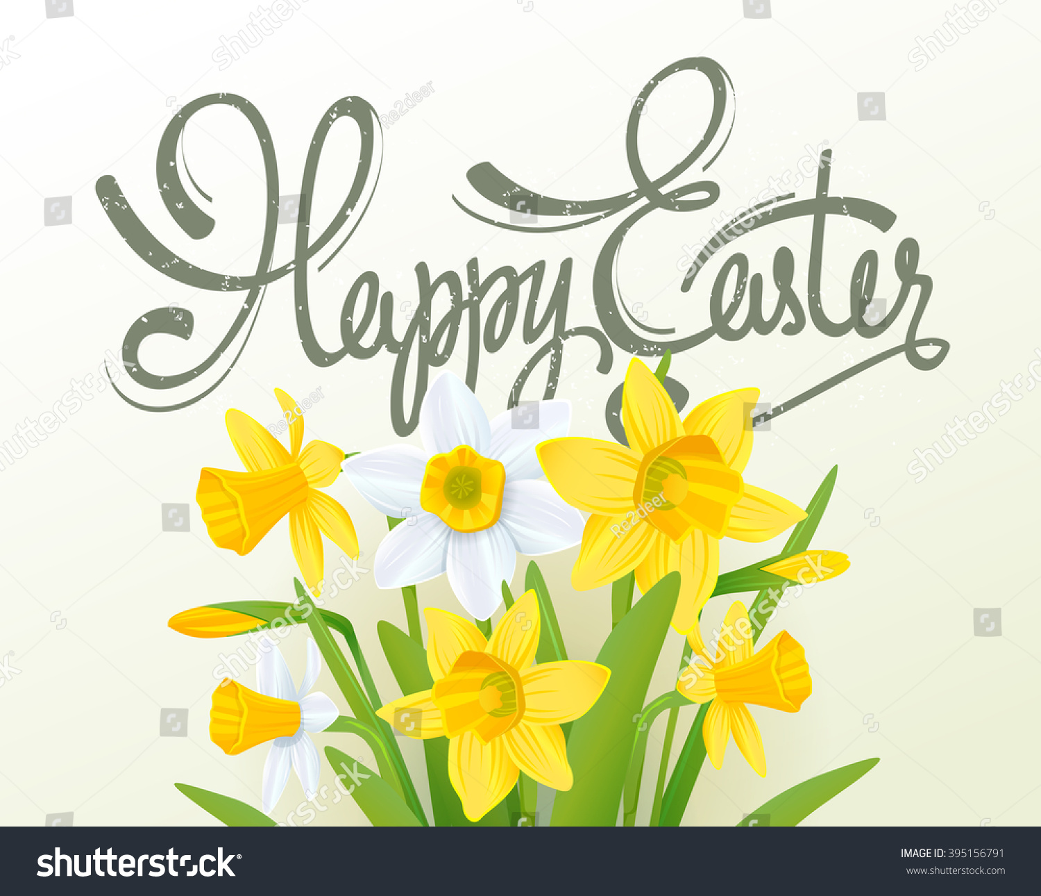 Happy easter lettering calligraphy card stock vector