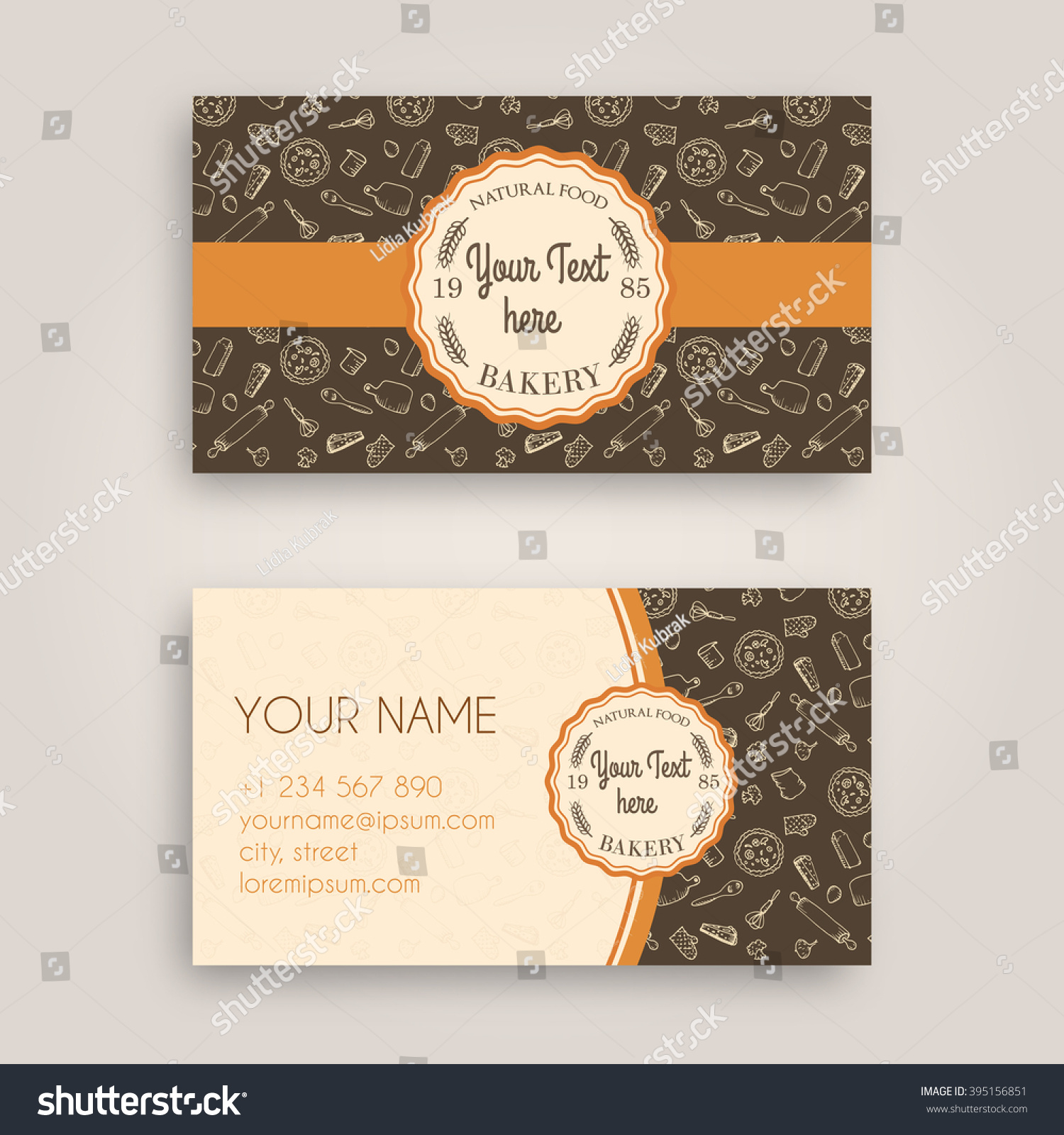 Vector business card design template doodle stock vector royalty vector business card design template with doodle bakery hand drawn pattern and vintage bakery emblem wajeb Images