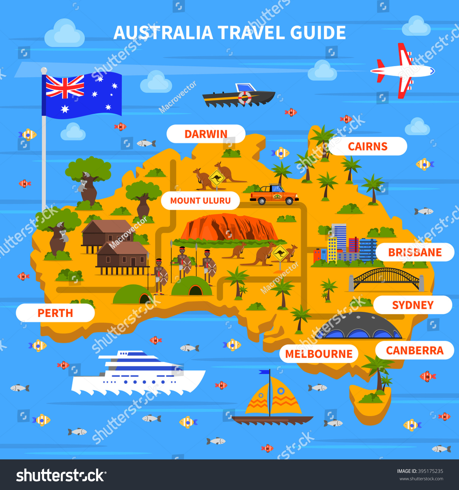 Australia travel guide map flag ocean vectores en stock 395175235 australia travel guide with map flag ocean and sights flat vector illustration gumiabroncs Images