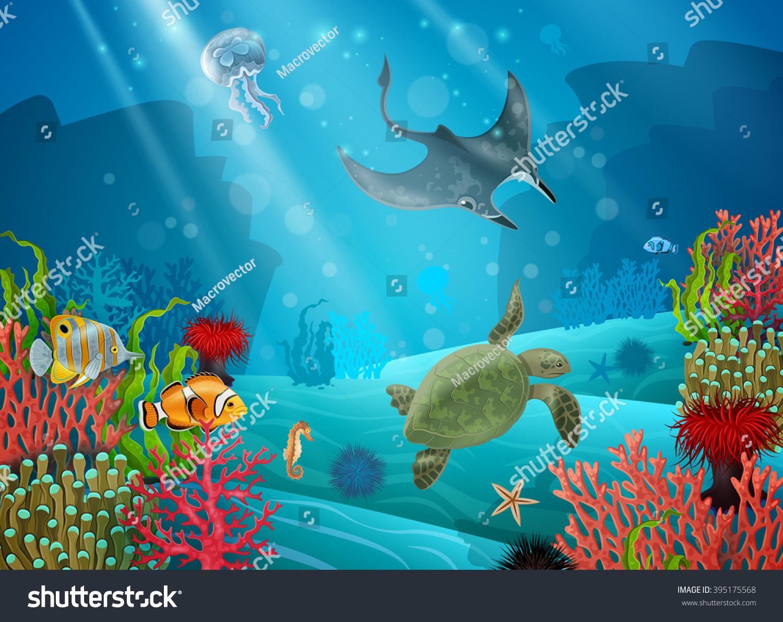 underwater cartoon landscape various sea animals stock vector
