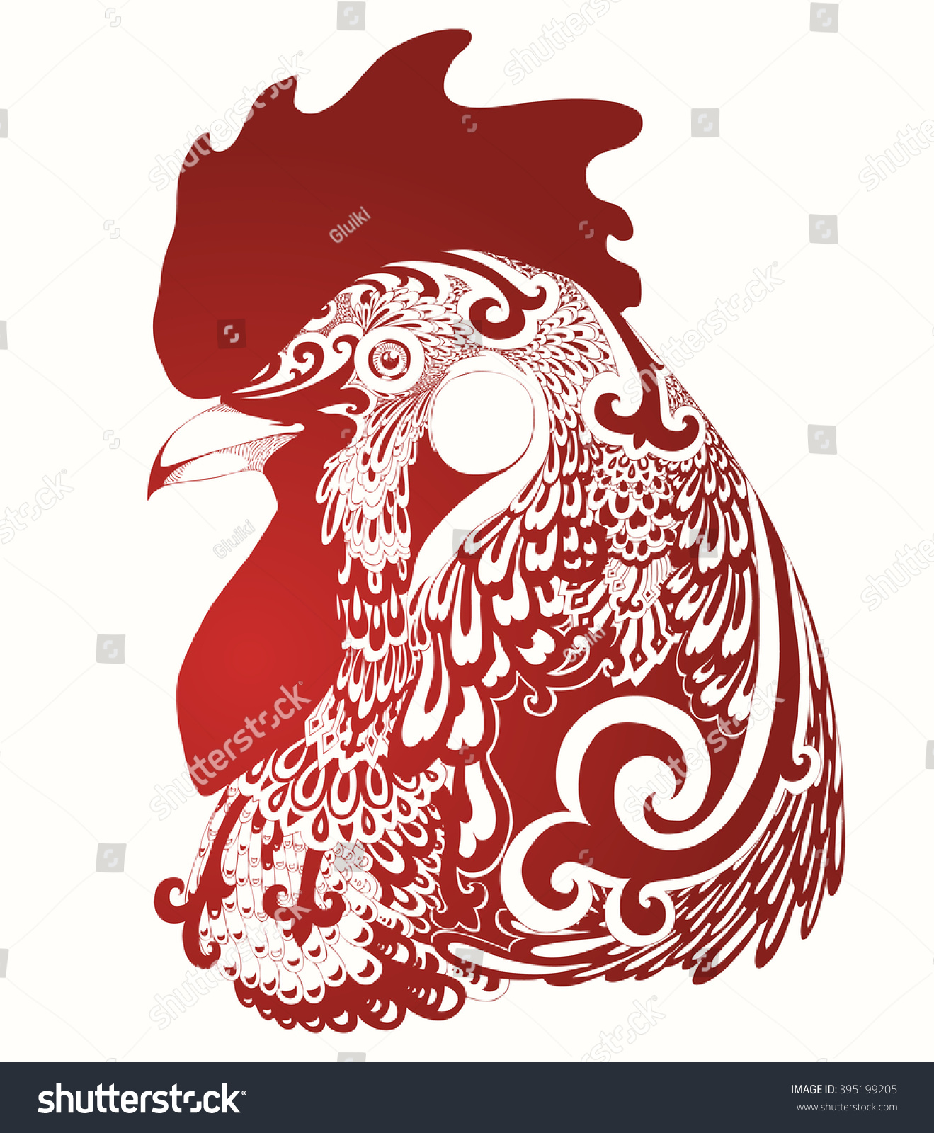 Chinese Calendar Illustration : Chinese calendar year rooster cock stock vector